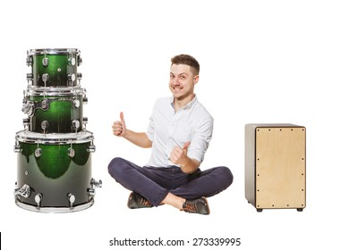 Cajon and drums - the best choice for a guy who is sitting on the floor