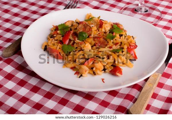 cajun jambalaya on white plate