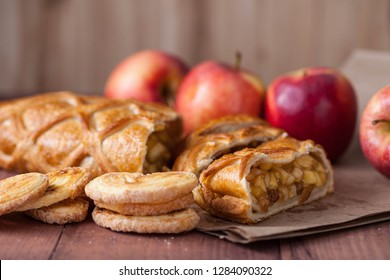 cake with Apple filling and pastry with apples