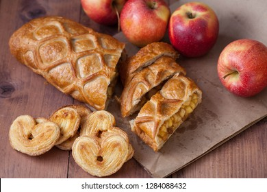 cake with Apple filling and pastry in the shape of a heart with apples