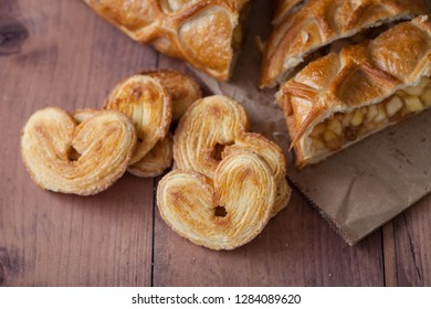 cake with Apple filling and pastry in the shape of a heart