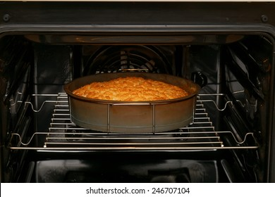 Cake is baked in the oven
