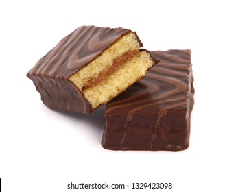 Cake bars covered with chocolate