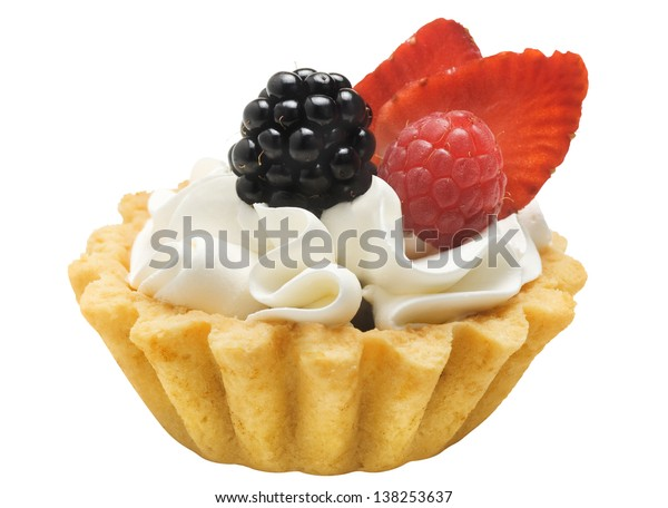 Cake basket with cream and berries, isolated on a white background