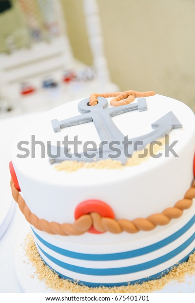 Superb Cake Birthday Anchor Rope Marine Motive Stock Photo Edit Now Funny Birthday Cards Online Alyptdamsfinfo