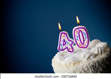 Cake: Birthday Cake With Candles For 40th Birthday