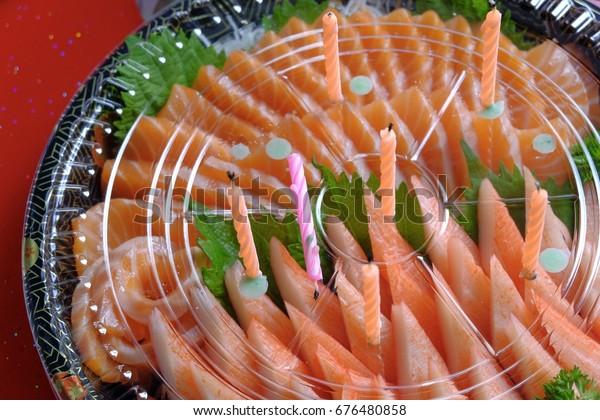 Surprising Cake Birthday Crab Salmon Fillet Sashimi Stock Photo Edit Now Birthday Cards Printable Opercafe Filternl