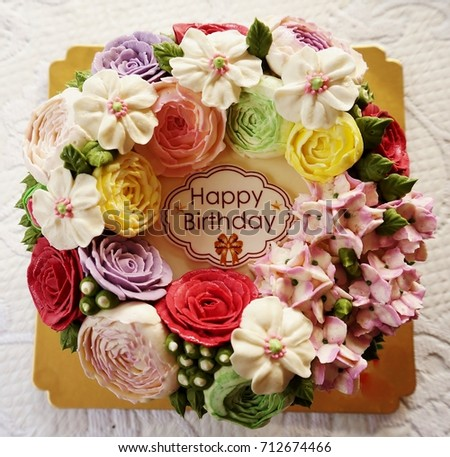 Cake Birthday With Flowers On White Background Afternoon Tea Set
