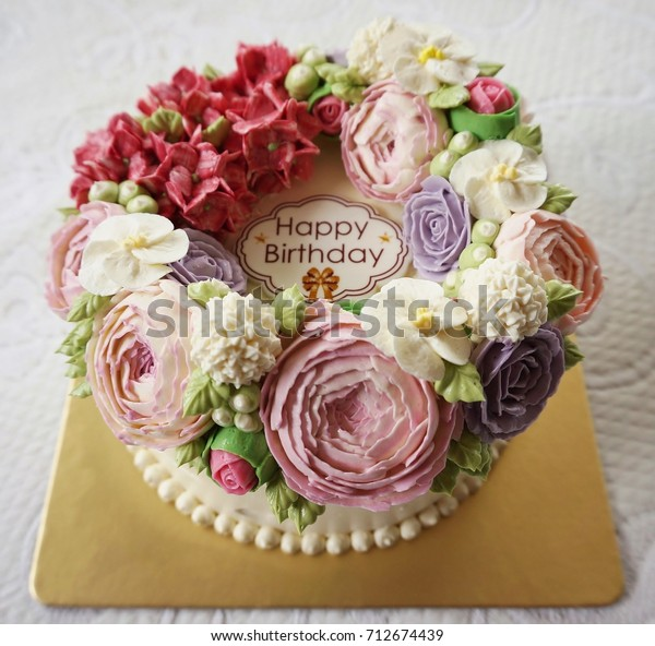 Incredible Cake Birthday Cake Flowers On White Stock Photo Edit Now 712674439 Funny Birthday Cards Online Alyptdamsfinfo