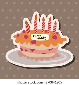 cake, cartoon stickers icon
