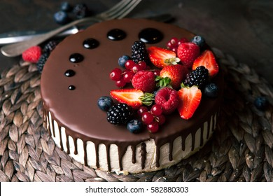 Cake with chocolate glaze. View from above