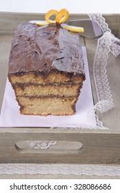 cake with chocolate and orange, biscuit, tart, brownie, dessert, homemade