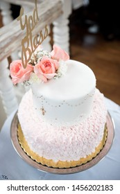 Cake for christening girl. Decorated with roses.