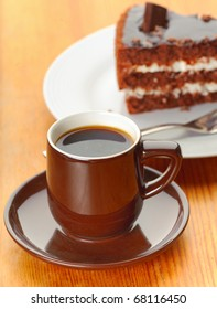 Cake and coffee on the table