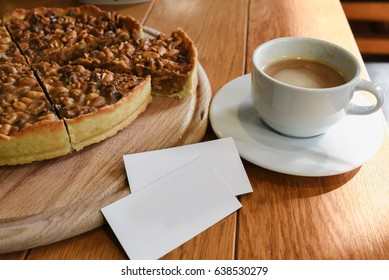 cake and coffee on a table with a place for inscription