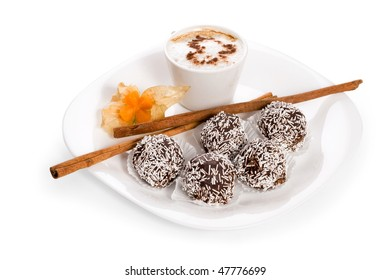 cake coffee on white plate