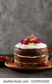 Cake with cream close-up