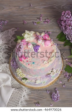 Cake With Flowers Birthday For Girl Twins Decorated Of Lilac And Chocolate