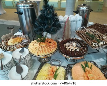 Cake and fruits for catering