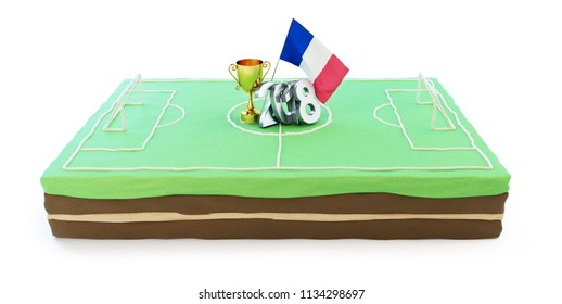 cake in honor of victory in football in France 2018 on a white background 3D illustration, 3D rendering
