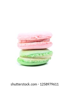 cake macaron or macaroon isolated on white background, sweet and dessert