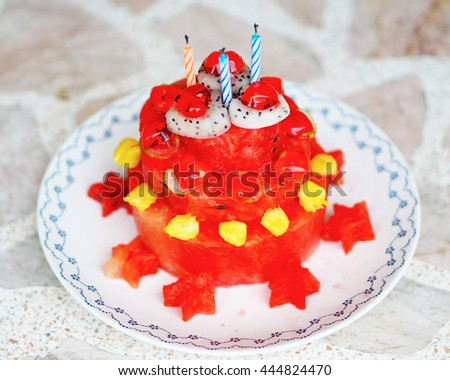 Cake Made Of Watermelon Many Fruits