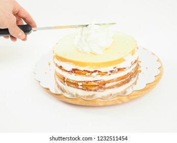 Cake making, layer cake with whipped cream
