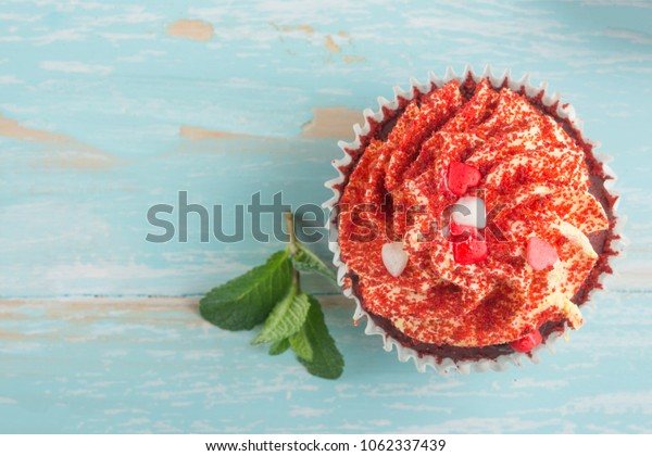 Cake with mint on light background, close-up, top view