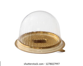 Cake packaging, dome shape box (with clipping path) isolated on white background