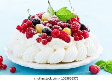 "Cake ""Pavlova"" with summer berries."