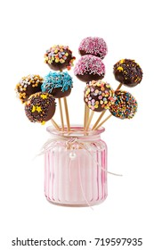 Cake pops  isolated on white