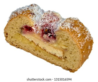 cake with raisins isolated on white Strudel with berry filling