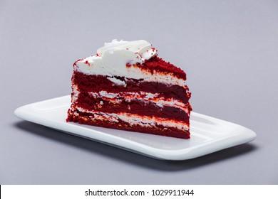 """Cake """"Red velvet"""" on a white plate"""