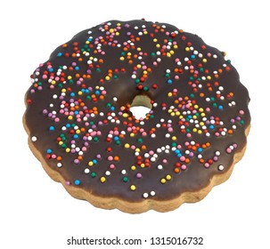 Cake ring with chocolate icing chocolate donut with sprinkles