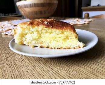 Cake slice over small plate, horizontal image