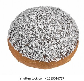 Cake sprinkled with coconut flakes donut isolated on white background