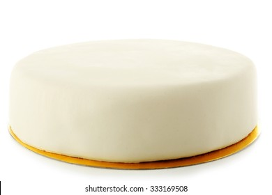 Cake with sugar paste, isolated on white