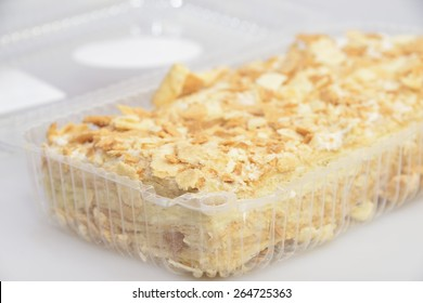 cake in transparent  blister  from supermarket