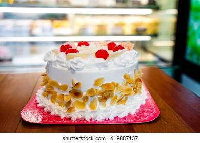 cake with vanilla cream in bakery shop