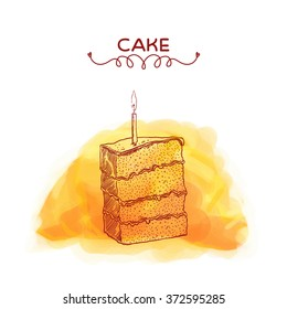 Cake. Watercolor illustration.