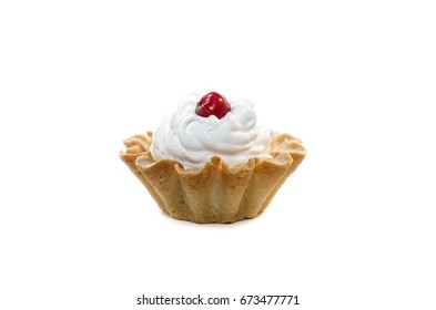 Cake with whipped cream and cherry
