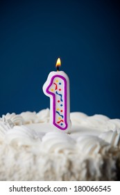 Cake: White Iced Birthday Cake With Candles For 1st Birthday