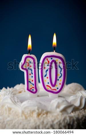 Cake White Iced Birthday Cake Candles Stock Photo Edit Now