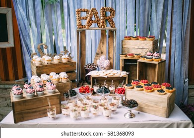 cakes and berries in the candy bar