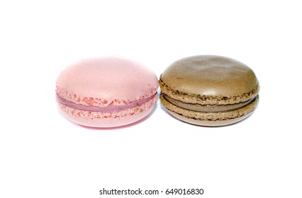 Cakes Chocolate and pink macaroons isolated