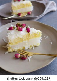 Cakes comes in wide variety namely chocolate,sponge,butter,orange,chiffon,fruit,  ice cream and fusion cake / Coconut Rose Cake / Title cake is one fusions with jelly and coconut flakes in butter base