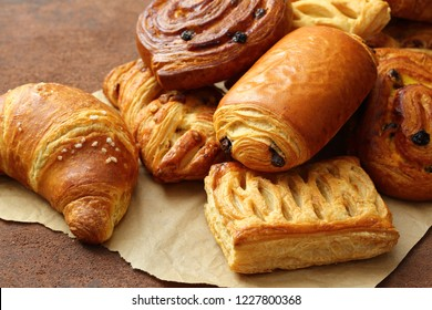 cakes croissants strudel and donuts