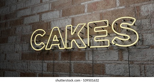 CAKES - Glowing Neon Sign on stonework wall - 3D rendered royalty free stock illustration.  Can be used for online banner ads and direct mailers.