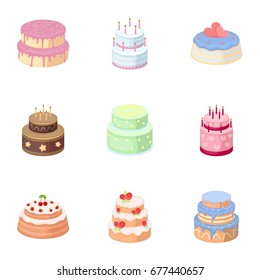 Cakes for the holidays. A set of different sweets. Beautifully decorated cakes and muffins.Cakes icon in set collection on cartoon style bitmap, raster symbol stock illustration.