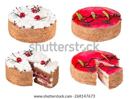 Cakes On White Background Round Cake Stock Photo Edit Now
